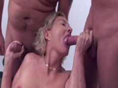 Old blonde wants group fucking