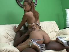 Angel Cummings rides him in sexy high heels