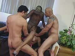 Three cocks for a black pussy