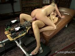 Aiden Aspen and India Summer share the fuck machine