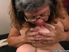 Chubby old lady with monster tits masturbates