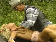 Uninhibited young granny fucks outdoors