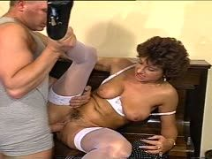 Grandmother is fucked by two guys