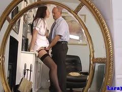 Businessman lets a nurse suck his cock