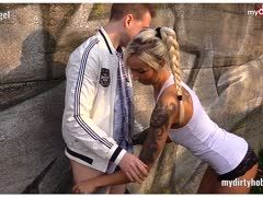 Tattooed blonde German Anni Angel is banged outdoors