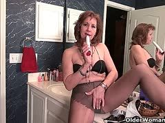 Grannies in nylons have solo sex in the bathroom