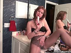Old nylon sluts enjoy a solo in the bathroom