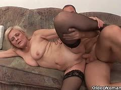 Granny is keen on sucking and fucked by her young lover