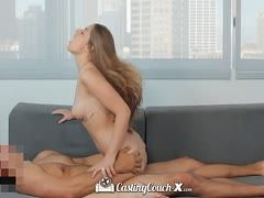 Pretty young girl is fucked and filmed at a casting