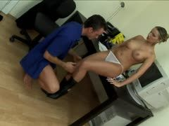 Blonde babe rides boss for a salary increase