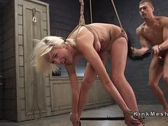 Hogtied slut is anal fucked until she screams