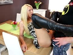 German slut in boots is anal banged