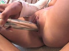 Wet pussy squirts during vibrator sex