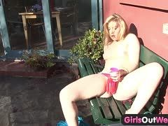 Intense double orgasms on the garden bench