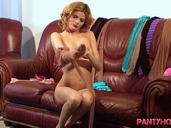 Anja gets horny in her pantyhose and masturbates