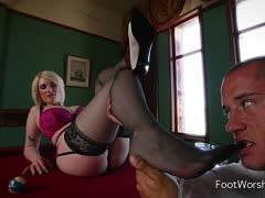 Horny blonde with XXL boobs seduces a guy with her nylon feet