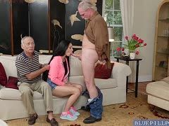 Teen sucks old dick and grandpa watches