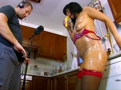 Dirty ass fucking during housework in the kitchen