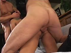 Sharing a married cunt! Two cocks bang her holes