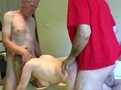 Cheap blonde is fucked by two old cocks