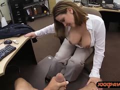 Babe with big boobs is overwhelmed by the dick of her boss