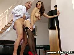 Grandpa's always horny cock fucks a sexy milf in suspenders