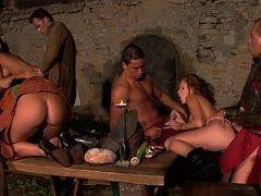 Group sex with cumshots in the castle