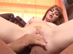 Redheaded girl is banged by her bodybuilder stepfather