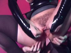 Perverted oral sex in tight latex outfit