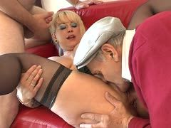 Old guys fuck a blonde whore