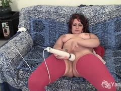 Horny big milf fucks herself with vibrator