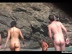 Group of nudists at the beach
