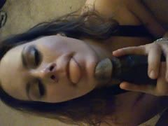 Black cock is sucked pov