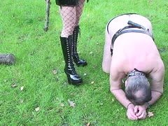 Dog slave is taken out for a walk
